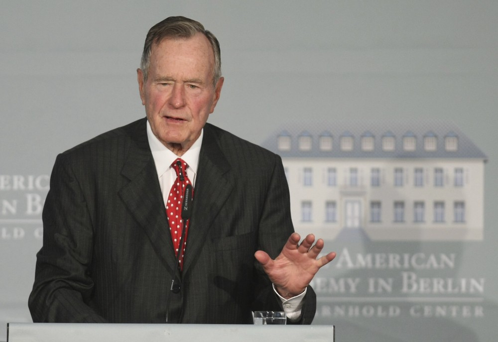BERLIN - JULY 03:  Former U.S. President George Bush speaks after he received the 2008 Henry A. Kissinger Prize at the American Academy on July 3, 2008 in Berlin, Germany.  (Photo by Sean Gallup/Getty Images)
