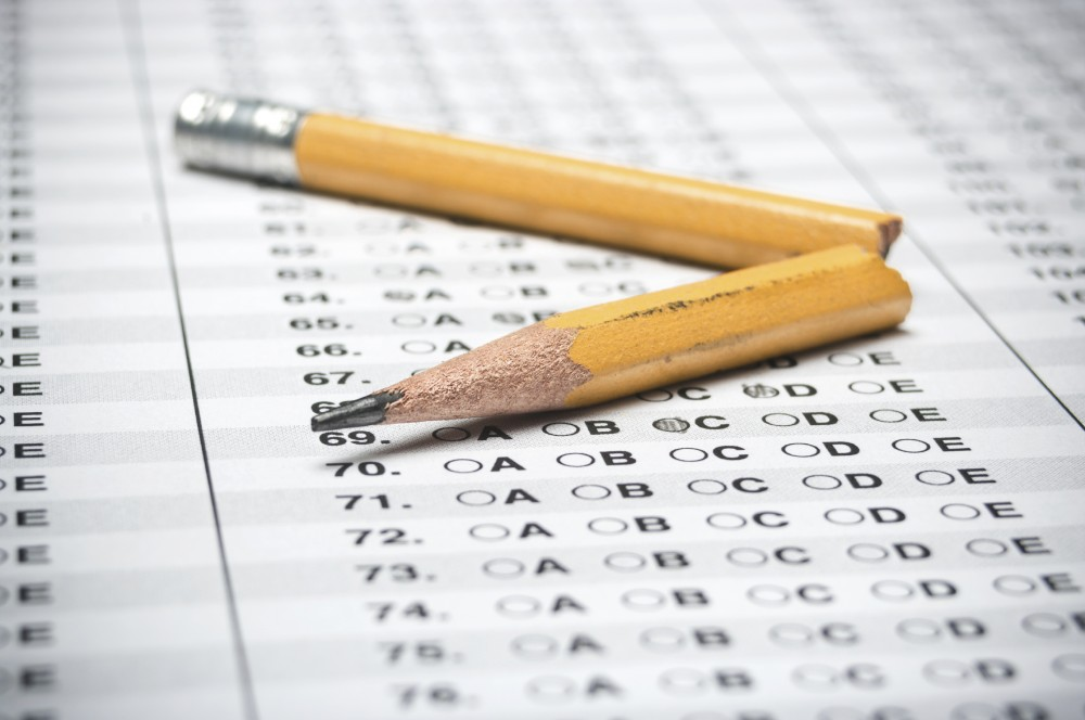 Standardized Test with a broken yellow pencil