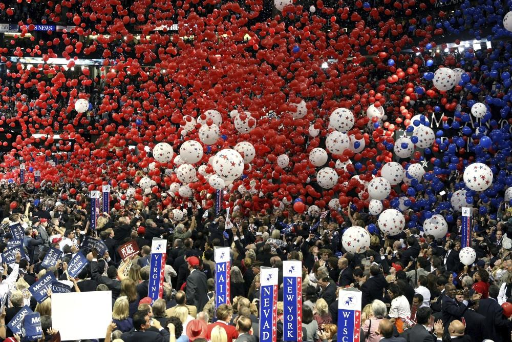 ST. PAUL, MN - SEPTEMBER 04:   Balloons and confetti drop from the ceiling at the end of Republican U.S presidential nominee U.S. Sen. John McCain's (R-AZ) speech on day four of the Republican National Convention (RNC) at the Xcel Energy Center on September 4, 2008 in St. Paul, Minnesota. U.S. Sen. John McCain (R-AZ) will accept the GOP nomination for U.S. President Thursday night.  (Photo by Justin Sullivan/Getty Images)