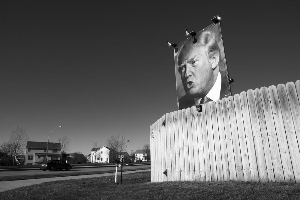 Des Moines, Iowa, United States – December 10, 2015: An ardent supporter of Donald Trump put up his own billboard at his home in West Des Moines, Iowa. December 10, 2015