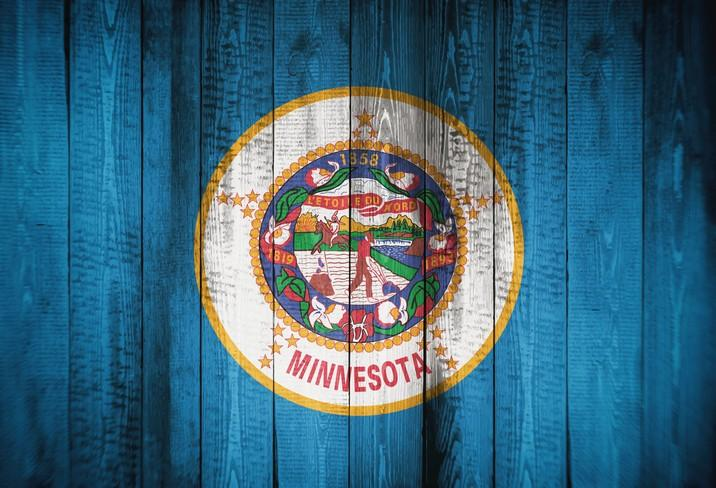 Flag of Minnesota , USA,  background, texture, blurred image.