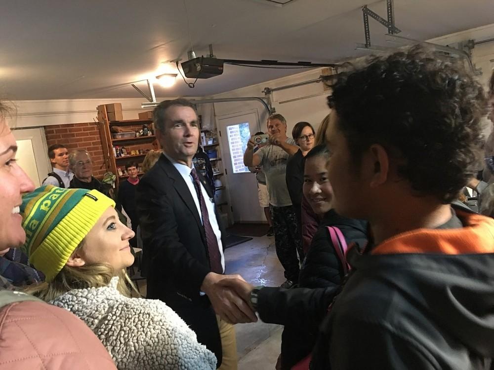 <p>Ralph Northam greets supporters during his successful 2017 gubernatorial bid</p>