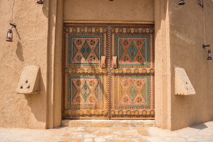 Authentic Arabian style wooden door with decoration pattern in Riyadh, Saudi Arabia