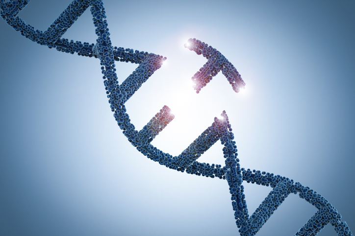 Genetic engineeering concept with 3d rendering dna helix and a part of dna