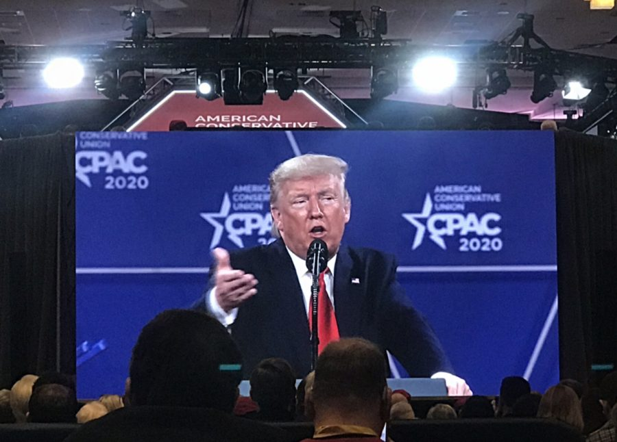 President Donald Trump delivering remarks on 2020 campaign competitors. Photo by Tiana Meador