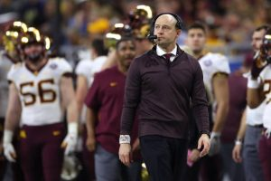 DETROIT, MICHIGAN - DECEMBER 26:  Head coach P. J. Fleck of the Minnesota Golden Gophers look on while playing the Georgia Tech Yellow Jackets during the Quick Lane Bowl at Ford Field on December 26, 2018 in Detroit, Michigan. Minnesota won the game 34-10. (Photo by Gregory Shamus/Getty Images)