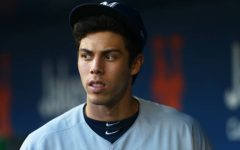 NEW YORK, NEW YORK - APRIL 27:  Christian Yelich #22 of the Milwaukee Brewers looks on from the dugout prior to the start of the game against the New York Mets at Citi Field on April 27, 2019 in New York City. Milwaukee Brewers defeated the New York Mets 8-6. (Photo by Mike Stobe/Getty Images)
